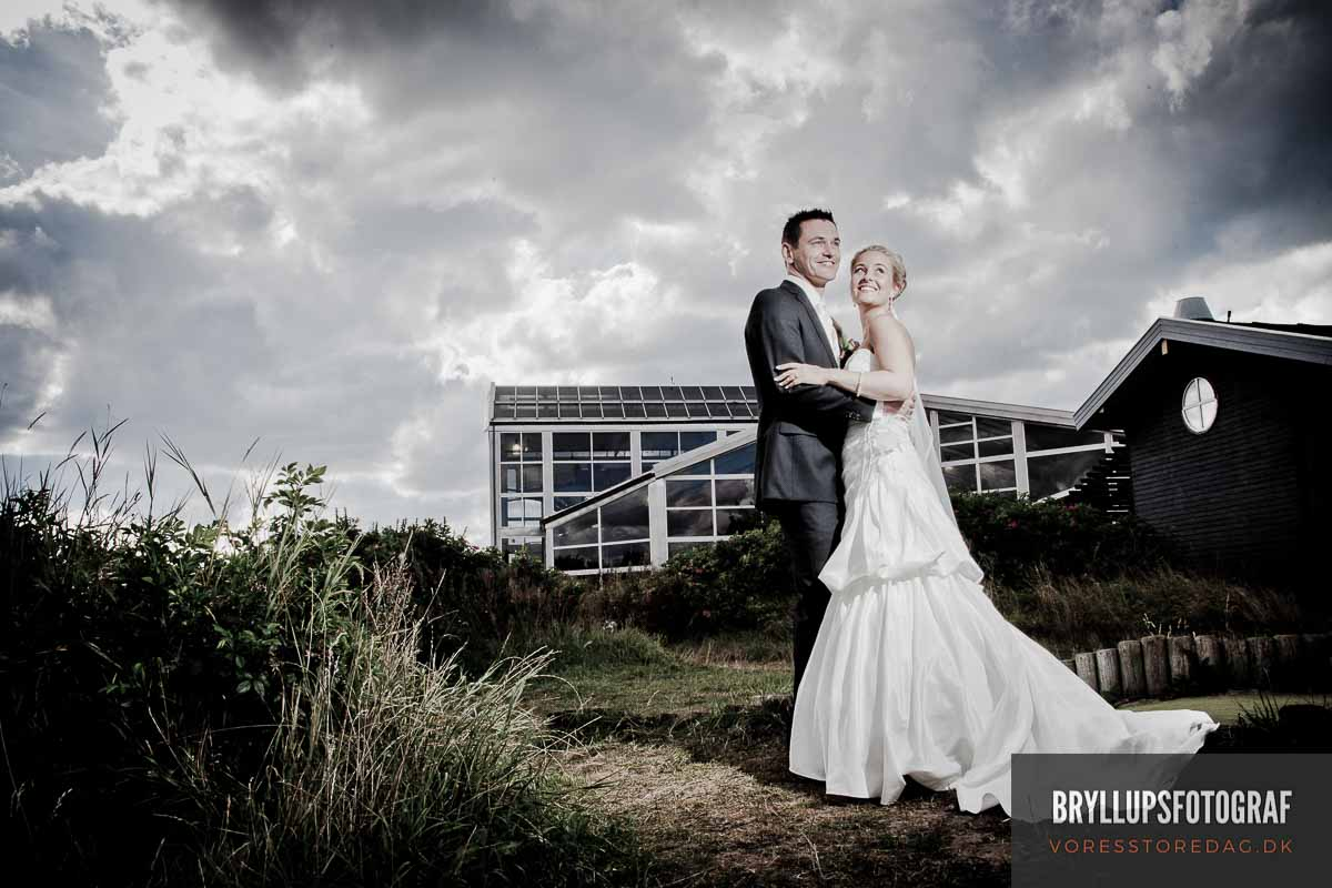 both the bridal couple and the location